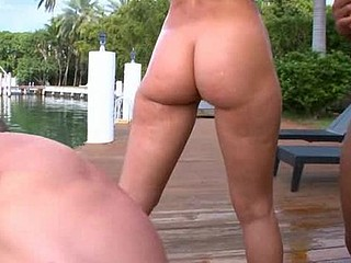 Large tittied and round assed ladies get nailed before camera