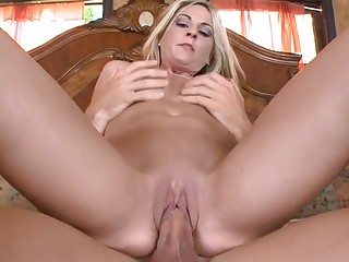 Horny darling is riding on dude's thick male rod vigorously