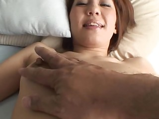 Pretty Oriental mother i'd like to fuck sucks on hard schlong and her bewhiskered cunt fingered