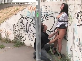 Stunning whore is humiliated sexually in public