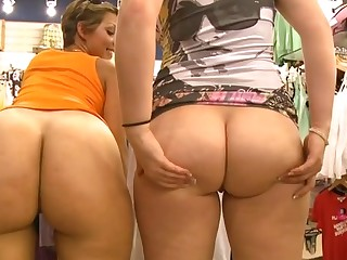 Cuties with great butts engulf dicks and bound on 'em as a result fast